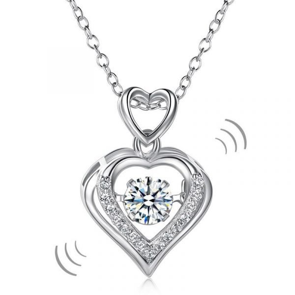 Double Heart Dancing Stone Pendant Necklace 925 Sterling Silver 1