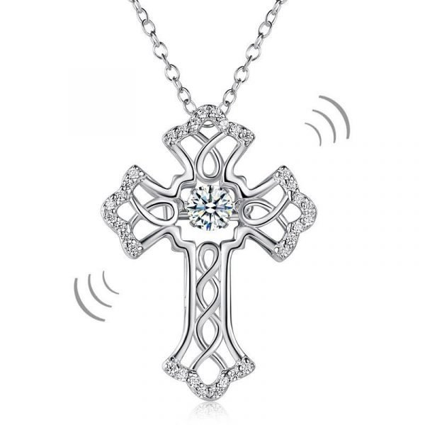 Vintage Style Cross Dancing Stone Pendant Necklace 925 Sterling Silver 1