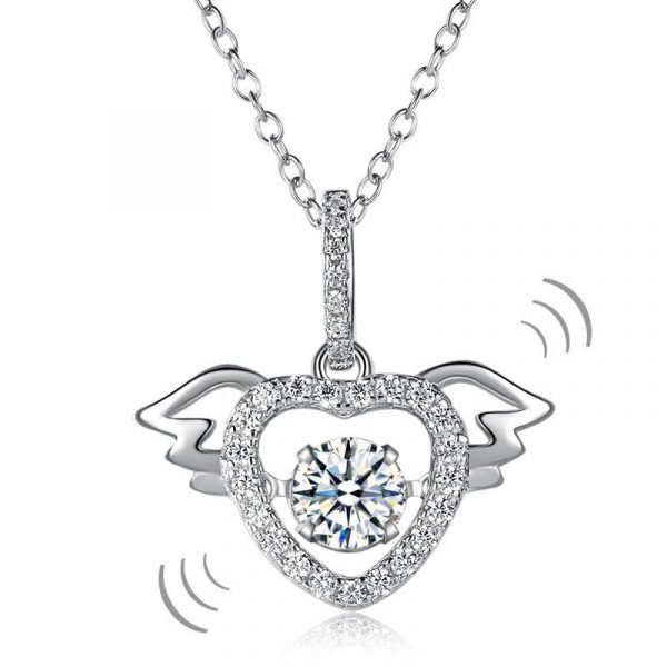 Heart Angel Wing Dancing Stone Pendant Necklace 925 Sterling Silver 1