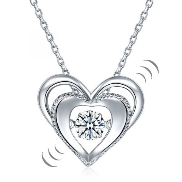 Heart Dancing Stone Pendant Necklace 925 Sterling Silver 1