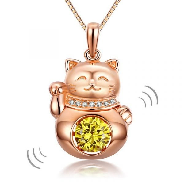 Lucky Cat Dancing Stone Pendant Necklace 925 Sterling Silver Rose Gold Plated 1
