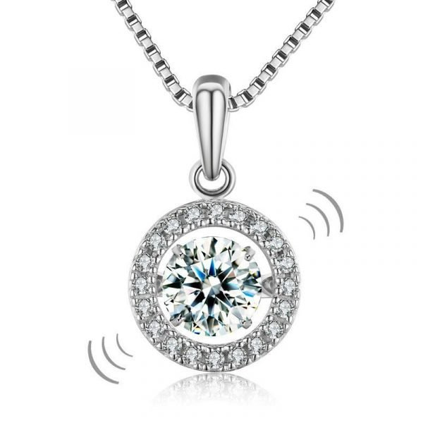 Dancing Stone 1 Carat Pendant Necklace 925 Sterling Silver 1