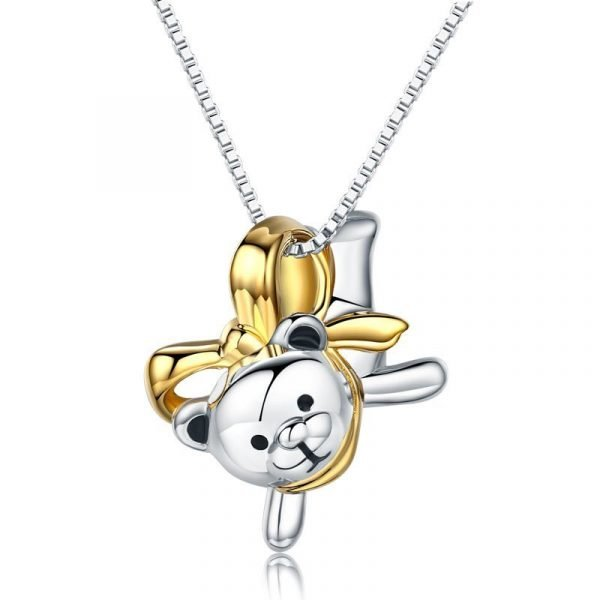 Lovely Bear Pendant Necklace 925 Sterling Silver Birthday Good Handcraft Gift 1