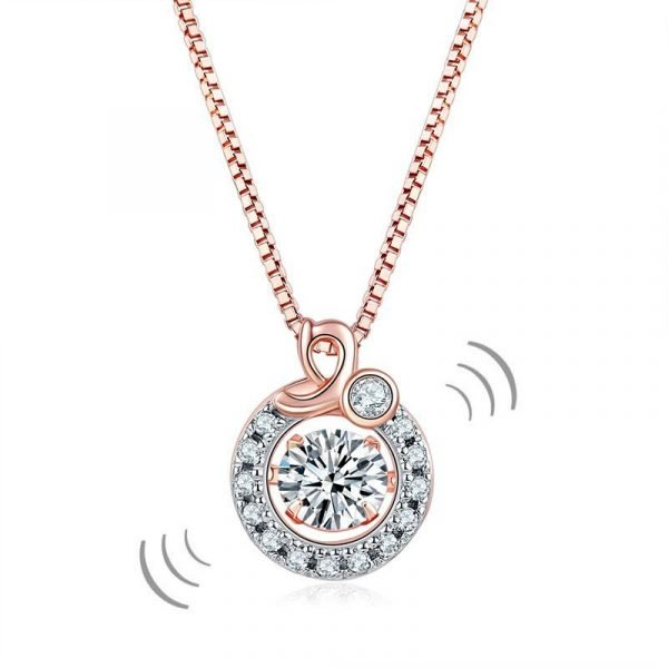 Dancing Stone Pendant Necklace Solid 925 Sterling Silver Rose Gold Plated 1