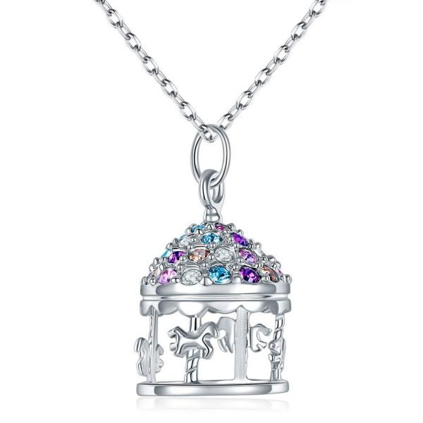 Multi-Color Merry-Go-Round Pendant Necklace Solid 925 Sterling Silver Jewellery 1