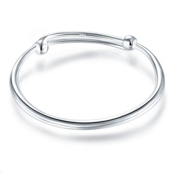Solid 990 Silver Plain Bangle Bracelet Baby Kids Children Gift Adjustable Size 1