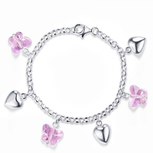 Solid 925 Sterling Silver Pink Butterfly Hearts Bracelet Baby Kids Girl Gift Children Jewellery 1