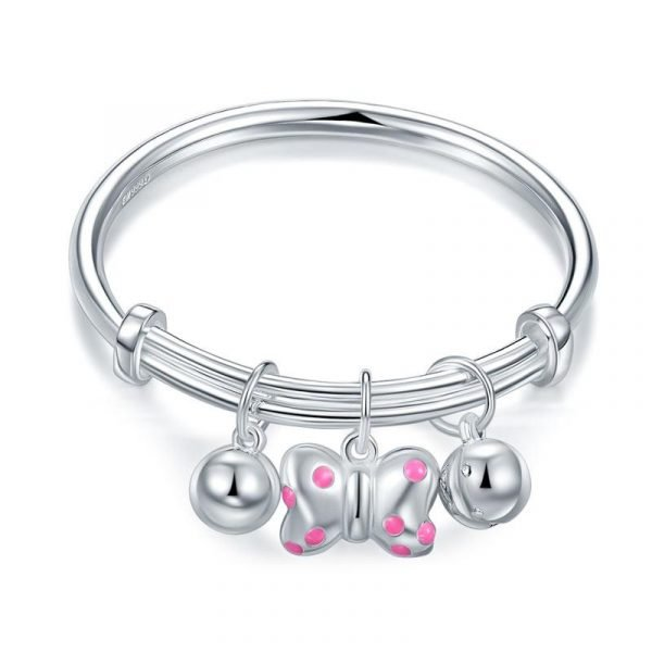 Newborn Girl 999 Pure Silver Knot Bells Baby Bangle 1