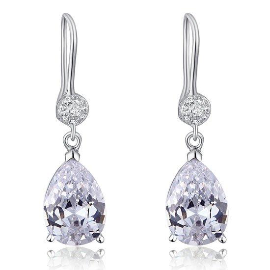 4 Carat Pear Cut Created Diamond 925 Sterling Silver Dangle Earrings 1
