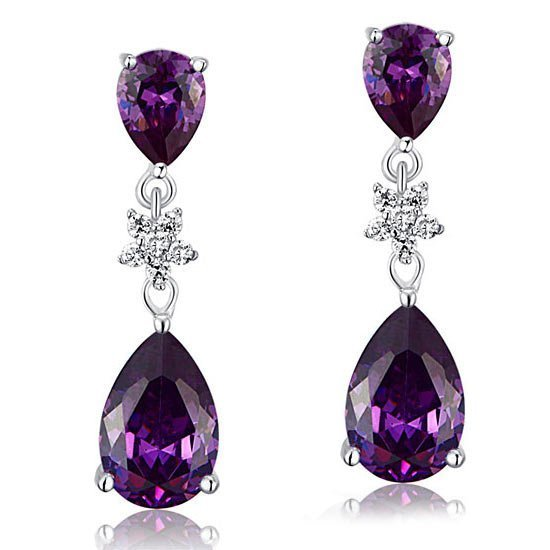 3.5 Carat Purple Pear Cut Created Sapphire 925 Sterling Silver Dangle Earrings 1