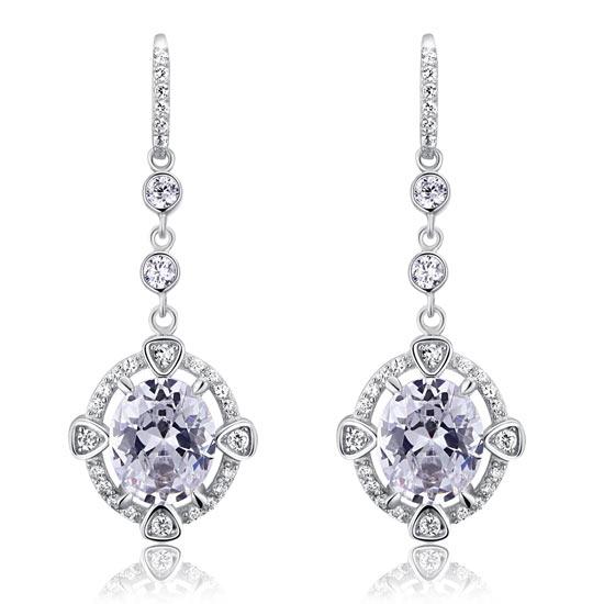 5 Carat Oval Dangle Sterling 925 Silver Bridal Wedding Earrings 1