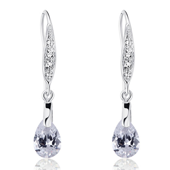 2 Carat Pear Cut Created Diamond 925 Sterling Silver Dangle Earrings 1