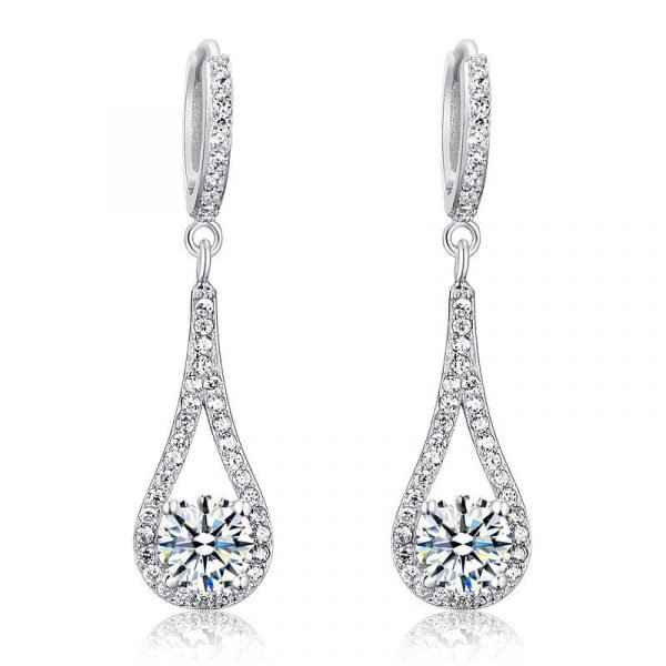 1 Carat Round Cut Solid 925 Sterling Silver Bridal Wedding Dangle Earrings Jewellery 1