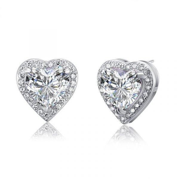 3 Carat Created Diamond 925 Sterling Silver Heart Stud Earrings 1