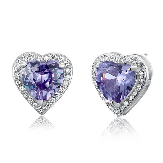 3 Carat Created Purple Sapphire 925 Sterling Silver Heart Stud Earrings 1