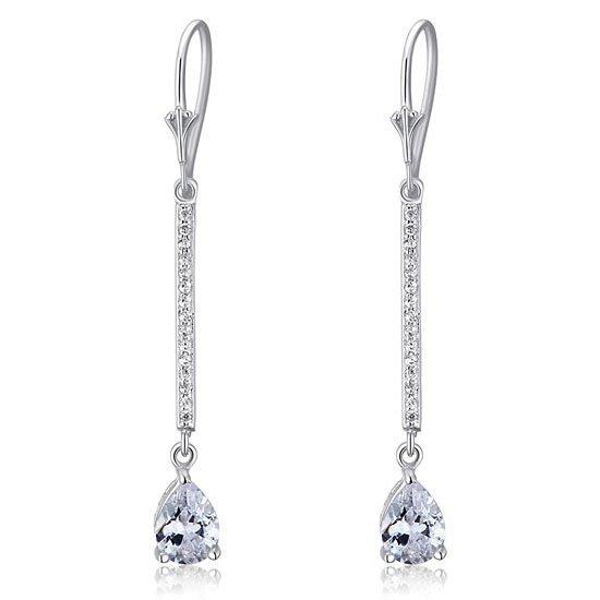 1 Carat Pear Cut Created Diamond 925 Sterling Silver Dangle Earrings 1