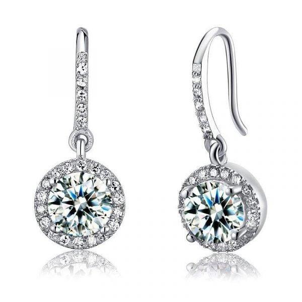 1.5 Carat Created Diamond 925 Sterling Silver Dangle Earrings 1