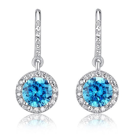 1.5 Carat Created Blue Topaz 925 Sterling Silver Dangle Earrings 1