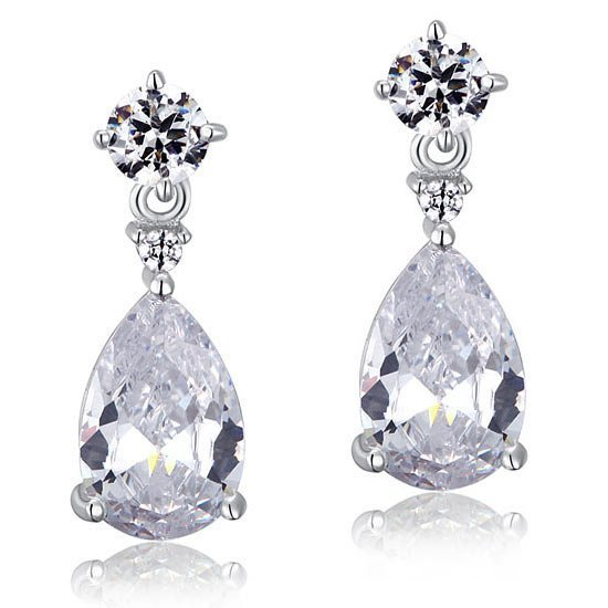 3 Carat Pear Cut Created Diamond 925 Sterling Silver Dangle Earrings 1