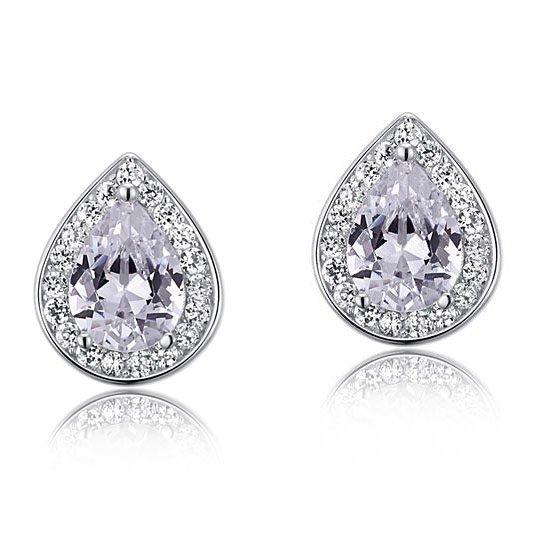 1 Carat Pear Cut Created Diamond 925 Sterling Silver Stud Earrings 1