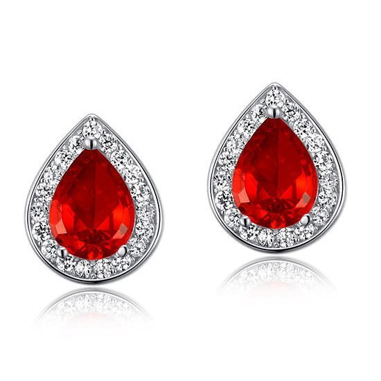 1 Carat Pear Cut Red Created Ruby 925 Sterling Silver Stud Earrings 1