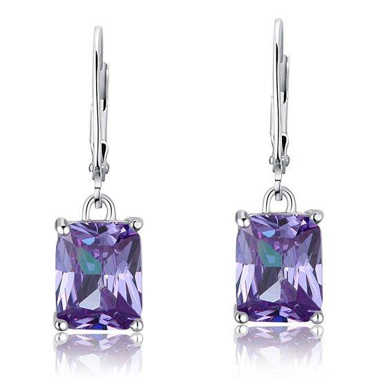 4 Carat Purple Created Sapphire 925 Sterling Silver Dangle Earrings 1
