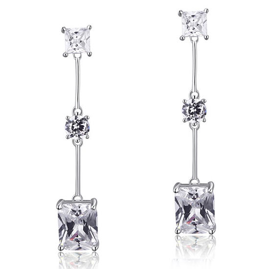 4 Carat Emerald Cut Created Diamond 925 Sterling Silver Dangle Earrings 1