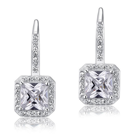 1.5 Carat Created Diamond 925 Sterling Silver Dangle Earrings 1