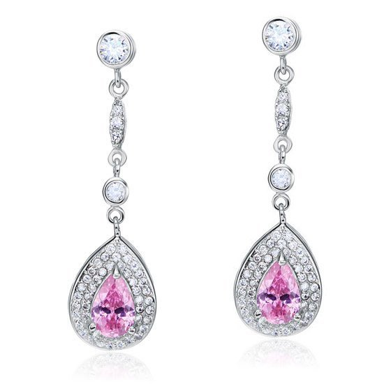 1.5 Carat Pear Cut Pink Created Sapphire 925 Sterling Silver Dangle Earrings 1