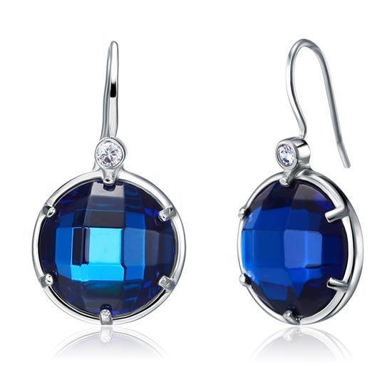 Navy Blue Created Topaz Dangle Sterling 925 Silver Bridal Earrings 1