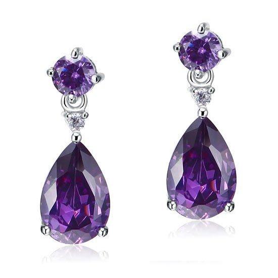 3 Carat Pear Cut Created Purple Sapphire 925 Sterling Silver Dangle Earrings 1