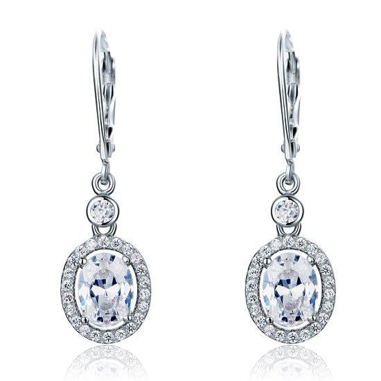 1.5 Carat Oval Cut Created Diamond 925 Sterling Silver Dangle Earrings 1