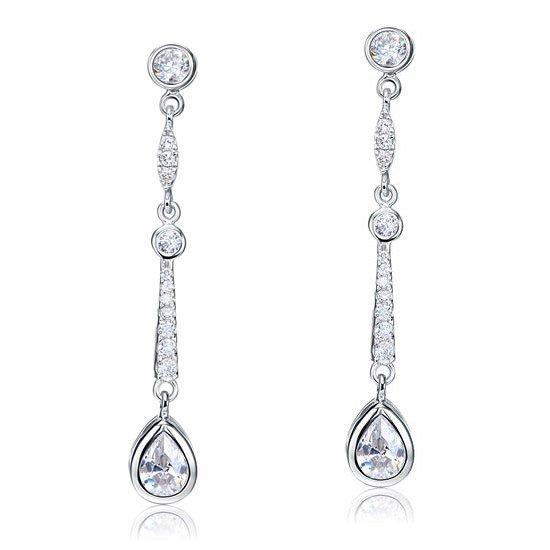 Pear Cut Created Diamond 925 Sterling Silver Dangle Earrings 1
