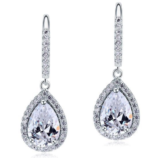 2 Carat Created Pear Cut Diamond Dangle Drop Sterling 925 Silver Earrings 1