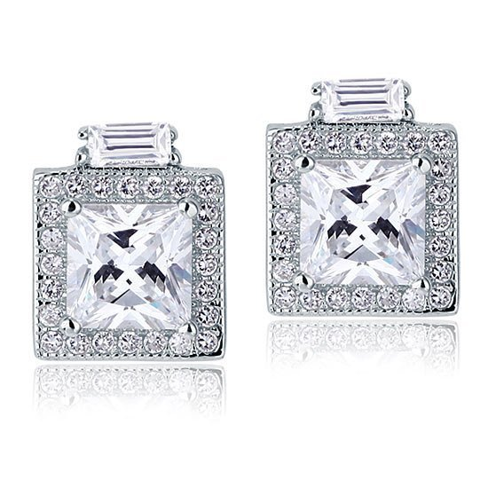 2 Carat Created Diamond Vintage Style Stud 925 Sterling Silver Earrings 1