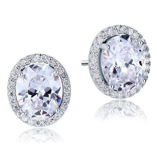 3 Carat Oval Cut Created Diamond Stud 925 Sterling Silver Earrings 1