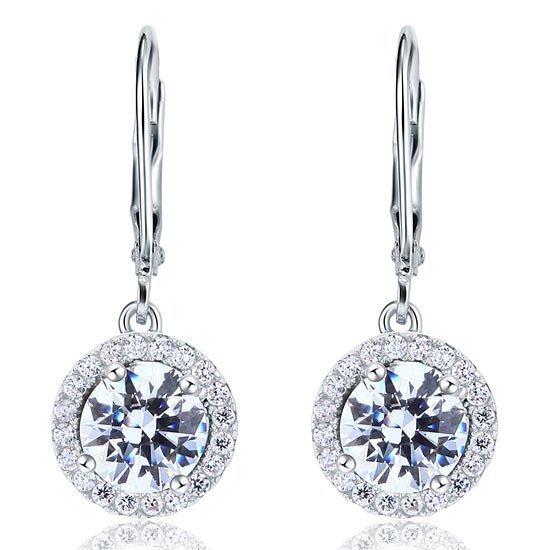 Created Diamond Dangle Drop Sterling 925 Silver Earrings 1