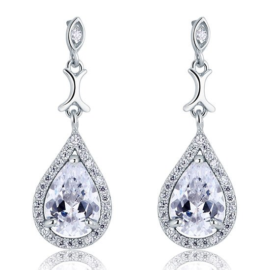 Pear Cut Created Diamond Vintage Dangle 925 Sterling Silver Earrings 1