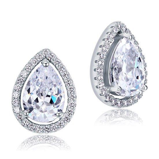 4 Carat Pear Cut Lab Created Diamond Stud 925 Sterling Silver Earrings 1