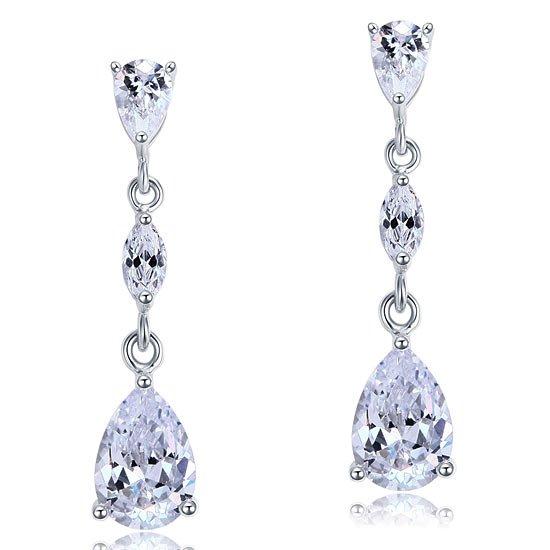 2 Carat Created Pear Cut Diamond Dangle Drop Sterling 925 Silver Earrings 1