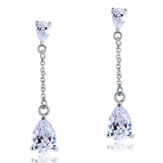 2 Carat Created Diamond Pear Cut Diamond Dangle Drop Sterling 925 Silver Earrings 1