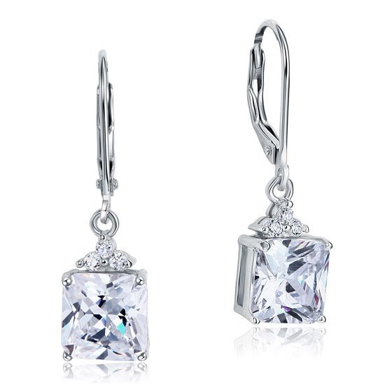 2 Carat Princess Cut Created Diamond Dangle Drop 925 Sterling Silver Earrings 1
