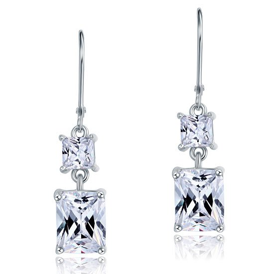 8 Carat Princess Cut Created Diamond Dangle Drop 925 Sterling Silver Earrings 1