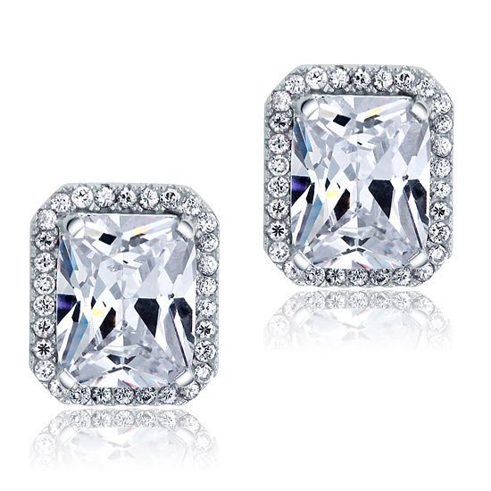 4 Carat Created Diamond Stud 925 Sterling Silver Earrings 1
