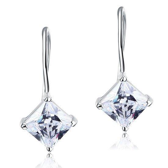 1.5 Carat Princess Cut Created Diamond Dangle Drop 925 Sterling Silver Earrings 1