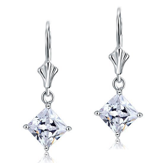 1.5 Carat Princess Cut Created Diamond Dangle Drop 925 Sterling Silver Earrings 1