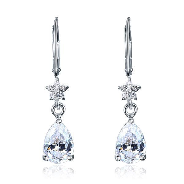 2 Carat 925 Sterling Silver Dangle Bridal Wedding Bridesmaid Earrings 1
