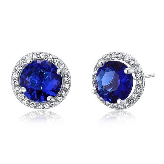 Navy Blue Created Sapphire Stud Earrings 925 Sterling Silver Jewellery 1