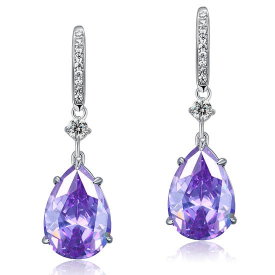 Purple Pear Created Sapphire 925 Sterling Silver Dangle Hook Earrings 1