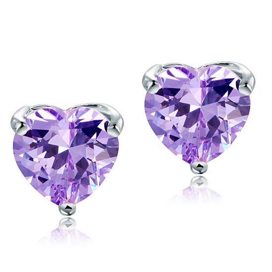 Bridal 2 Carat Heart Cut Purple Stud 925 Sterling Silver Earrings Jewellery 1